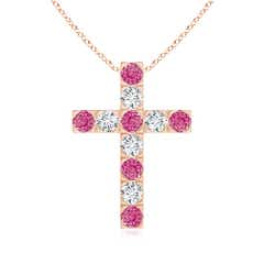 Flat Prong-Set Pink Sapphire and Diamond Cross Pendant