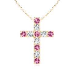 Flat Prong-Set Pink Tourmaline and Diamond Cross Pendant