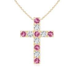 Angara Flat Prong-Set Pink Sapphire and Diamond Cross Pendant in White Gold 8w0rCdrM