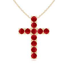 Flat Prong-Set Round Ruby Cross Pendant Necklace