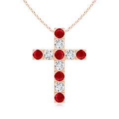 Flat Prong-Set Ruby and Diamond Cross Pendant