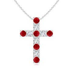 Flat Prong-Set Ruby and Diamond Cross Pendant