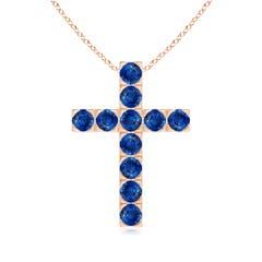 Flat Prong-Set Round Blue Sapphire Cross Pendant Necklace