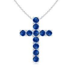 Angara Marquise and Round Blue Sapphire Cross Pendant in 14K Yellow Gold s29GUcJpiX