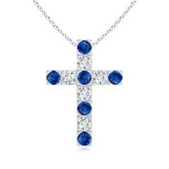Flat Prong-Set Blue Sapphire and Diamond Cross Pendant