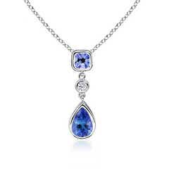 Bezel Set Diamond and Tanzanite Drop Pendant
