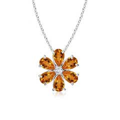 Citrine Flower Cluster Pendant with Diamond
