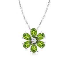 Peridot Flower Cluster Pendant with Diamond