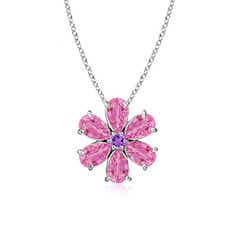 Pink Sapphire Flower Cluster Pendant with Amethyst