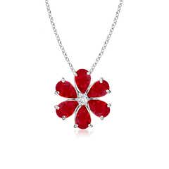 Ruby Flower Cluster Pendant with Diamond