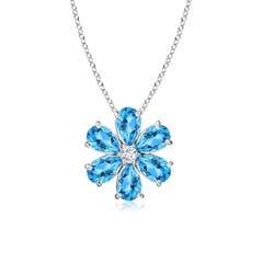 Swiss Blue Topaz Flower Cluster Pendant with Diamond
