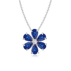 Blue Sapphire Flower Cluster Pendant with Diamond