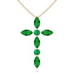Marquise and Round Emerald Cross Pendant