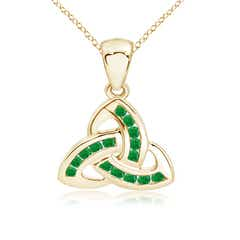 Dangling Channel Set Emerald Celtic Knot Pendant