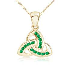 Dangling Channel-Set Emerald Celtic Knot Pendant