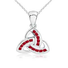 Dangling Channel Set Ruby Celtic Knot Pendant