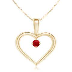 Solitaire Round Ruby Open Heart Pendant with Prong Set
