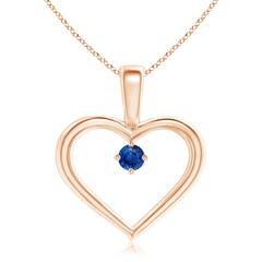 Solitaire Blue Sapphire Heart Pendant