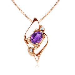 Shell Style Diamond and Oval Amethyst Pendant