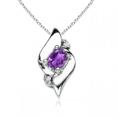 Angara Floating Emerald-Cut Amethyst Dangle Pendant with Diamonds