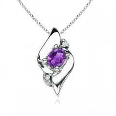 Shell Style Oval Amethyst and Diamond Pendant