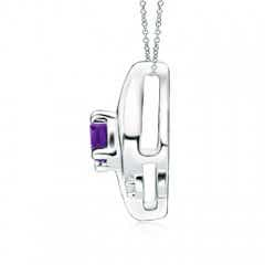 Toggle Shell Style Oval Amethyst and Diamond Pendant