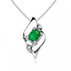 Shell Style Oval Emerald and Diamond Pendant