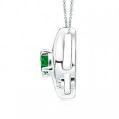 Toggle Shell Style Oval Emerald and Diamond Pendant