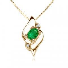 Shell Style Diamond and Oval Emerald Pendant