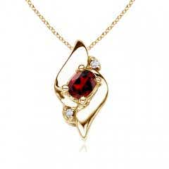Shell Style Oval Garnet and Diamond Pendant
