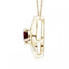 Toggle Shell Style Oval Garnet and Diamond Pendant