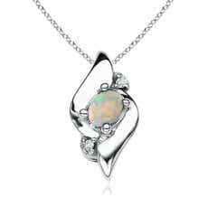 Shell Style Oval Opal and Diamond Pendant