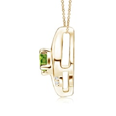 Toggle Shell Style Oval Peridot and Diamond Pendant