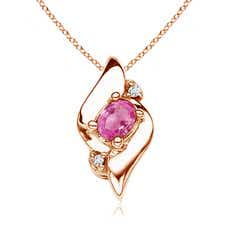 Shell Style Oval Pink Sapphire and Diamond Pendant