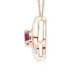 Toggle Shell Style Oval Pink Tourmaline and Diamond Pendant