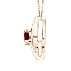 Toggle Shell Style Oval Ruby and Diamond Pendant