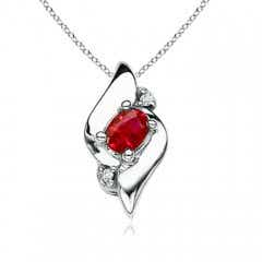 Shell Style Oval Ruby and Diamond Pendant