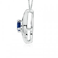 Toggle Shell Style Oval Sapphire and Diamond Pendant