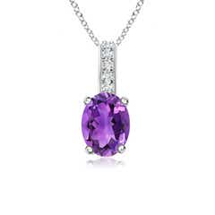 Oval Amethyst Solitaire Pendant with Diamond Bale
