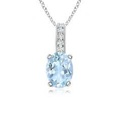 Solitaire Oval Aquamarine Pendant with Diamond Bail