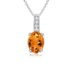 Solitaire Oval Citrine Pendant with Diamond Bail