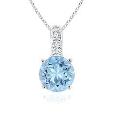 Solitaire Round Aquamarine Pendant with Diamond Bale