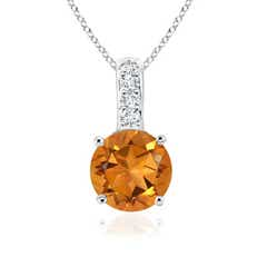 Solitaire Round Citrine Pendant with Diamond Bale
