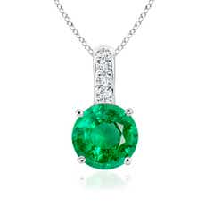Solitaire Round Emerald Pendant with Diamond Bale