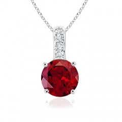 Solitaire Round Garnet Pendant with Diamond Bale