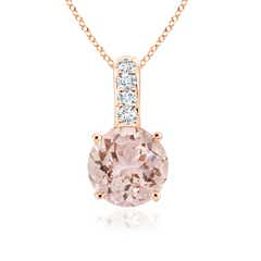 Solitaire Round Morganite Pendant with Diamond-Bail