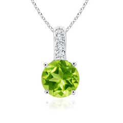 Solitaire Round Peridot Pendant with Diamond Bale