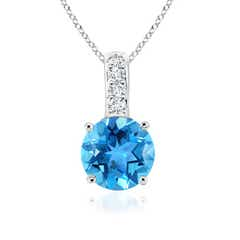 Solitaire Round Swiss Blue Topaz Pendant with Diamond Bail