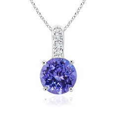 Solitaire Round Tanzanite Pendant with Diamond Bale