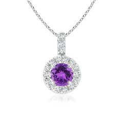 Vintage Style Amethyst and Diamond Halo Pendant